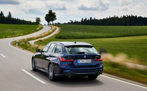 Picture road, BMW, 3-series, universal, dark blue, 3P, 2020, G21, 330d xDrive Touring