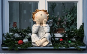 Picture balls, branches, toy, angel, doll, window, Christmas, New year, coniferous, figure, angel, spruce