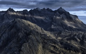 Picture the sky, clouds, mountains, clouds, nature, overcast, rocks, Scotland, Isle of Skye, Cuillin