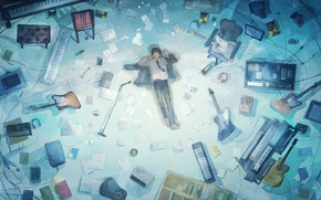 Picture lies, guy, on the floor, musical instruments