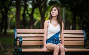 Picture girl, Asian, cutie, bench, bokeh