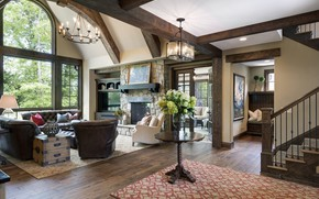 Picture design, style, Villa, interior, ladder, fireplace, living room, hall