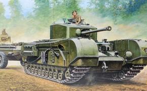 Picture tank, UK, Churchill, infantry, flamethrower, Heavy, British Tank Churchill Mk. VII Crocodile