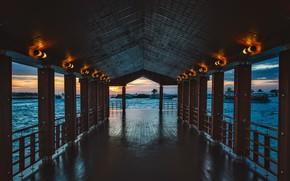 Picture tropics, the ocean, ships, the evening, pier, resort