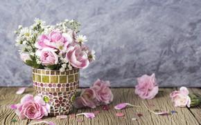 Picture flowers, petals, bucket, pink, vintage, wood, pink, flowers, beautiful, romantic