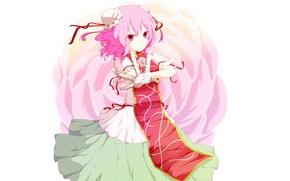 Picture white background, pink hair, pink rose, stretched out his right hand, Ibaraki Kasen, Touhou Project, …
