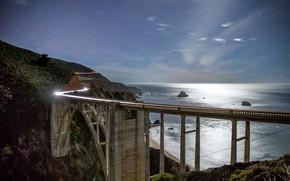 Picture road, the sky, landscape, mountains, night, bridge, the ocean, coast, stars, CA, USA, Bixby Bridge
