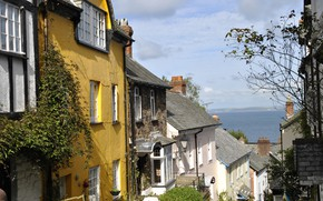 Picture the city, street, coast, England, home, Cornwall, Clovelly village
