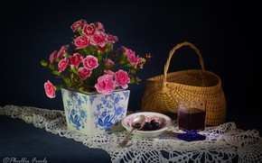 Picture flowers, style, background, basket, glass, still life, napkin, clove