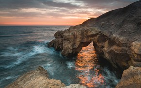 Picture sea, sunset, rocks, the evening
