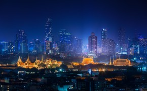 Picture night, the city, lights, building, home, panorama, Thailand, skyscrapers, Bangkok