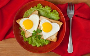 Picture greens, creative, table, eggs, heart, plate, bread, plug, scrambled eggs, red, tablecloth, eggs, sandwiches