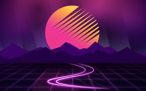 Picture The sun, Mountains, Music, Star, Background, Art, 80s, 80's, Synth, Retrowave, Synthwave, New Retro Wave, …