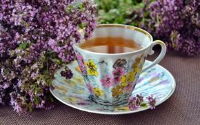 Picture flowers, tea, lavender