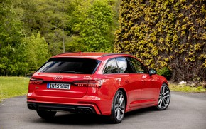 Picture red, Audi, vegetation, back, universal, 2019, A6 Avant, S6 Before