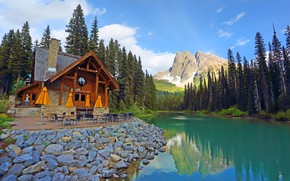 Picture forest, trees, mountains, lake, Canada, restaurant, house, Canada, British Columbia, British Columbia, Yoho National Park, …