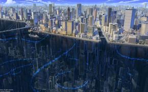 Picture Reflection, The city, River, Building, City, The ship, Architecture, Bridge, Skyscrapers, River, Transport, Buildings, Architecture, …