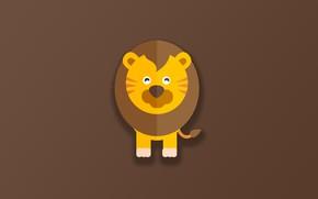 Picture minimalism, Lion, animal, funny, digital art, artwork, cute, simple background, feline