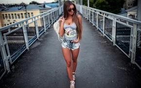 Picture shorts, handbags, brunette, bare shoulders, jean shorts, long hair, short shorts, photo, Model, legs, girl, …