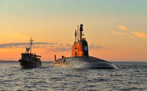 Picture submarine, exercises, Severodvinsk, cipher Ash