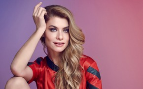 Picture look, girl, face, pose, smile, background, hair, blouse, Alinne Moraes