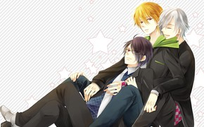 Picture anime, art, guys, brothers, The brotherly conflict, triplets, brothers conflict