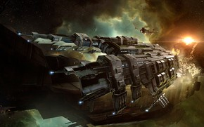 Picture space, nebula, station, asteroids, space, ruins, battle, spaceship, station, eve online, battle, space ship, coooper