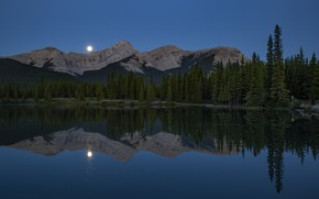 Picture forest, mountains, night, reflection, the moon, shore, ate, Canada, Albert, twilight, pond, blue sky, symmetry