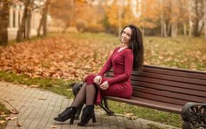Picture model, pretty, brunette, dress red, A Diakov George