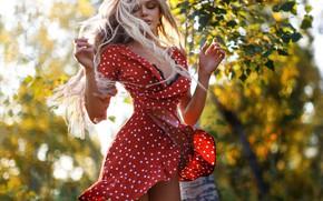 Picture jump, hair, Girl, dress, blonde, Anton Montbrillant, Anton Levchenko, Lika Andreyeva