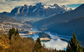 Picture landscape, mountains, nature, lake, valley, Italy, forest, The Dolomites