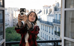 Picture look, girl, pose, smile, photo, actress, phone, Lily Collins, Vogue