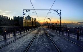 Picture bridge, the city, morning, Dom Luís I Bridge