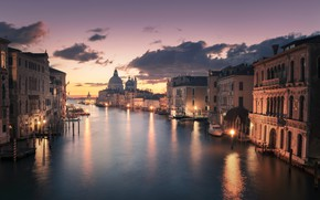Picture the city, dawn, building, home, morning, Italy, Venice, channel, Владимир Бакулин