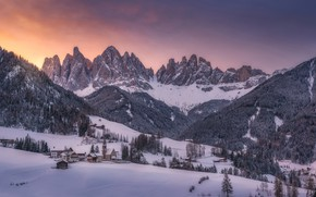 Picture winter, snow, trees, mountains, home, village, Italy, Italy, The Dolomites, South Tyrol, South Tyrol, Dolomites, …