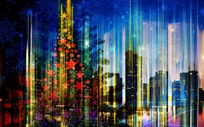 Picture the city, holiday, Christmas, New Year, skyline