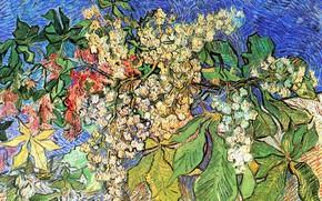 Picture Vincent van Gogh, Auvers-sur-Oise, Blossoming Chestnut Branches