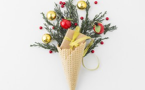 Picture white, balls, background, holiday, gift, new year, decor, decorated, waffle cone, Waffle