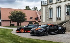 Picture the building, Bugatti, Veyron, 2010, Chiron, 2019, Veyron 16.4 Super Sport World Record Edition, чёрно-оранжевые, …
