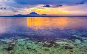 Picture sky, sea, landscape, nature, sunset, water, mountains, clouds, rocks, mist, Indonesia
