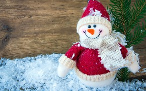 Picture winter, frost, snow, branches, red, smile, holiday, hat, toy, Board, scarf, Christmas, New year, snowman, …