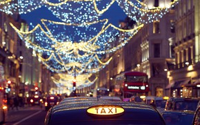 Picture machine, street, England, London, taxi, garland, London, England, Regent Street