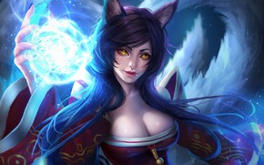 Picture Girl, Fantasy, Art, Style, League of Legends, Illustration, LoL, Ahri, Minimalism, Character, Furry, Rena Illusion, …