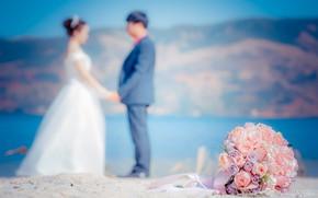Picture love, flowers, bouquet, pair, love, happy, pink, wedding, flowers, romantic, day, couple, wedding, wedding bouquet, …