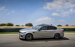 Picture grey, speed, BMW, profile, sedan, 4x4, 2018, four-door, M5, V8, F90, M5 Competition