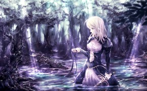 Picture forest, girl, lake, sword, tape, the saber, Fate stay night, Fate / Stay Night