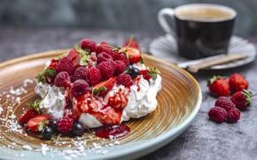 Picture berries, cake, dessert, meringue