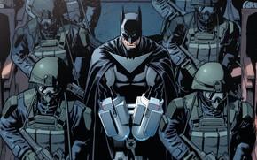 Picture fantasy, Batman, soldiers, comics, weapons, artwork, mask, costume, fantasy art, DC Comics, pearls, rifles, cape, …