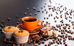 Picture background, coffee, cinnamon, coffee beans, cupcakes, Anis