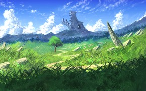Picture the sky, mountains, nature, stone dragon